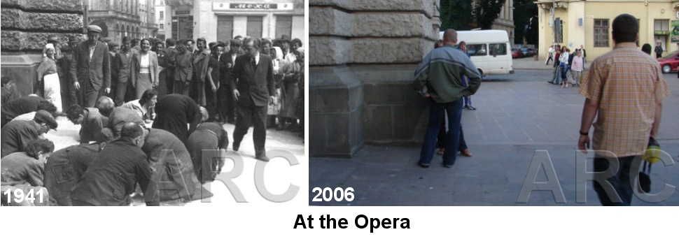 Lvov Jews made to clean opera sidewalk with toothbrushes