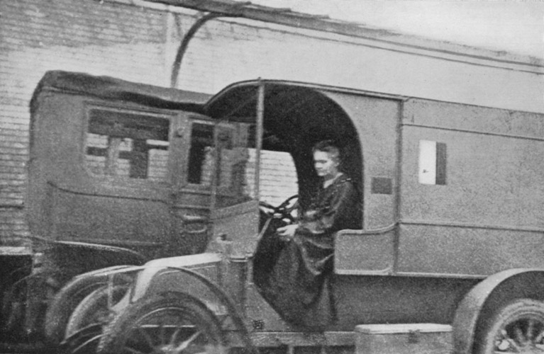 Marie Curie in mobile X ray vehicle