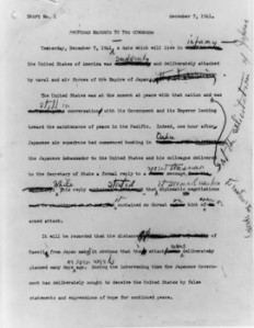 FDR Pearl Harbor speech draft