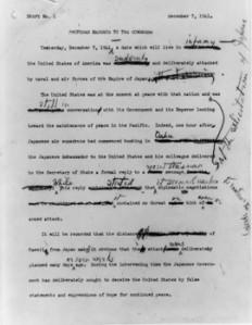FDR Pearl Harbor speech draft