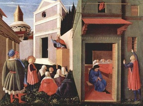 Fra Angelico St. Nicholas Giving Dowries to 3 girls 1437