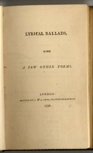 Lyrical Ballads by Wordsworth and Coleridge