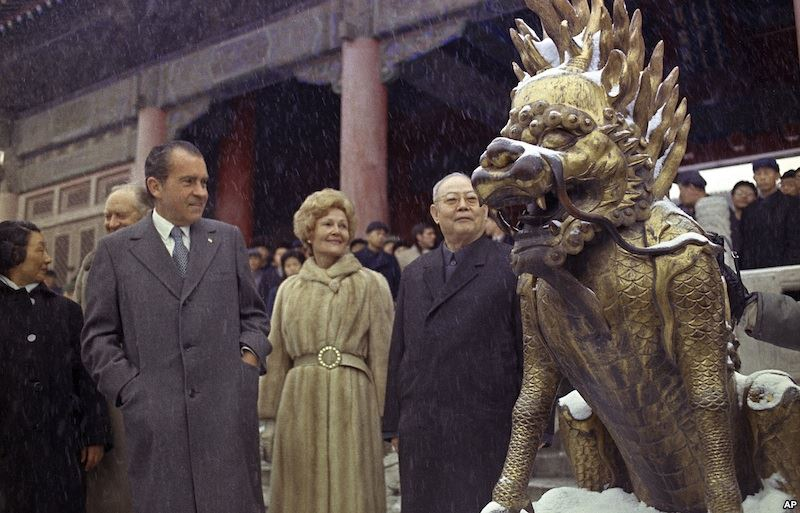Richard and Pat Nixon in China at Emporer's Tomb
