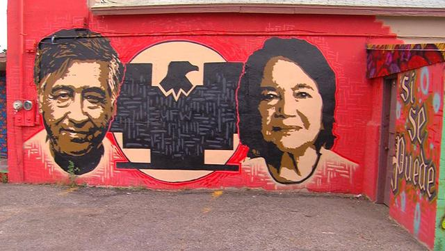 Cesar chavez dolores huerta fighters who fought the for Cesar chavez mural