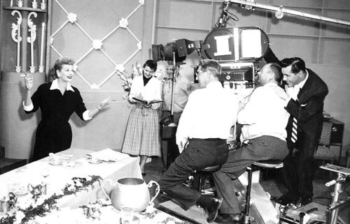 Lucy with Desi behind the camera
