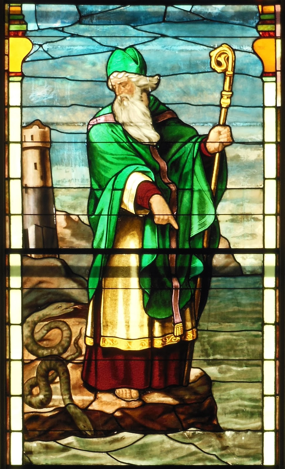 St. Patrick Snakes Stained Glass