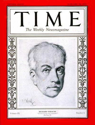 Richard Strauss Cover of Time Magazine 1927