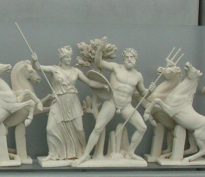 Athena and Poseidon in porcelin