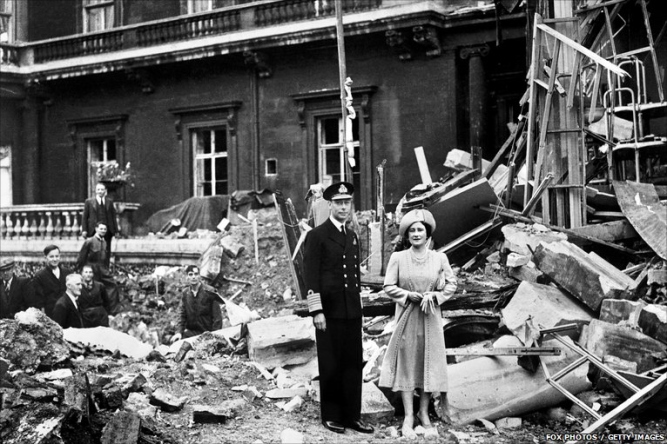 "Despite being the last person expected to rule England, George did so with a sense of brave nobility befitting a King. The Royal Family refused to leave their people during the War, standing firm amidst the worst of Nazi ""blitz"" bombings, as can be seen with ruins of the west wing of their own residence, Buckingham Palace, after being hit in September of 1940. (wikipedia.org)"