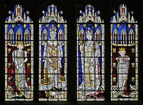 Britain's Royal Family of World War II captured in stained glass in London's Westerminster Abbey - from left to right are Princess Elizabeth, King George VI, Queen Elizabeth, and Princess Margaret.