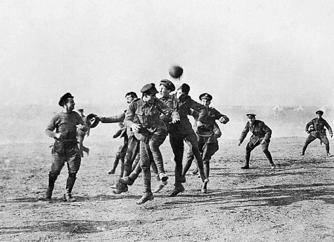 Despite WW1 shattering the world's innocence towards war, a heart-warming event took place on Christmas Day, 1914 where all fighting was stopped for the day, German and British soldiers emerged from the trenches, sang Christmas Carols together, and played a lively game of football (soccer). (wikipedia.org)