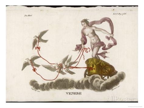 Aprodite drives her dove drawn chariot by Bernieri