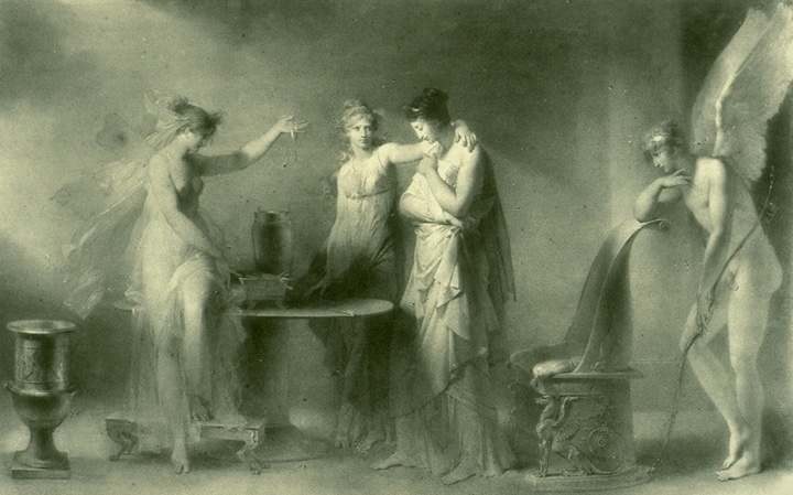 Psyche and her sisters by  A.E. Fragonard, 1798