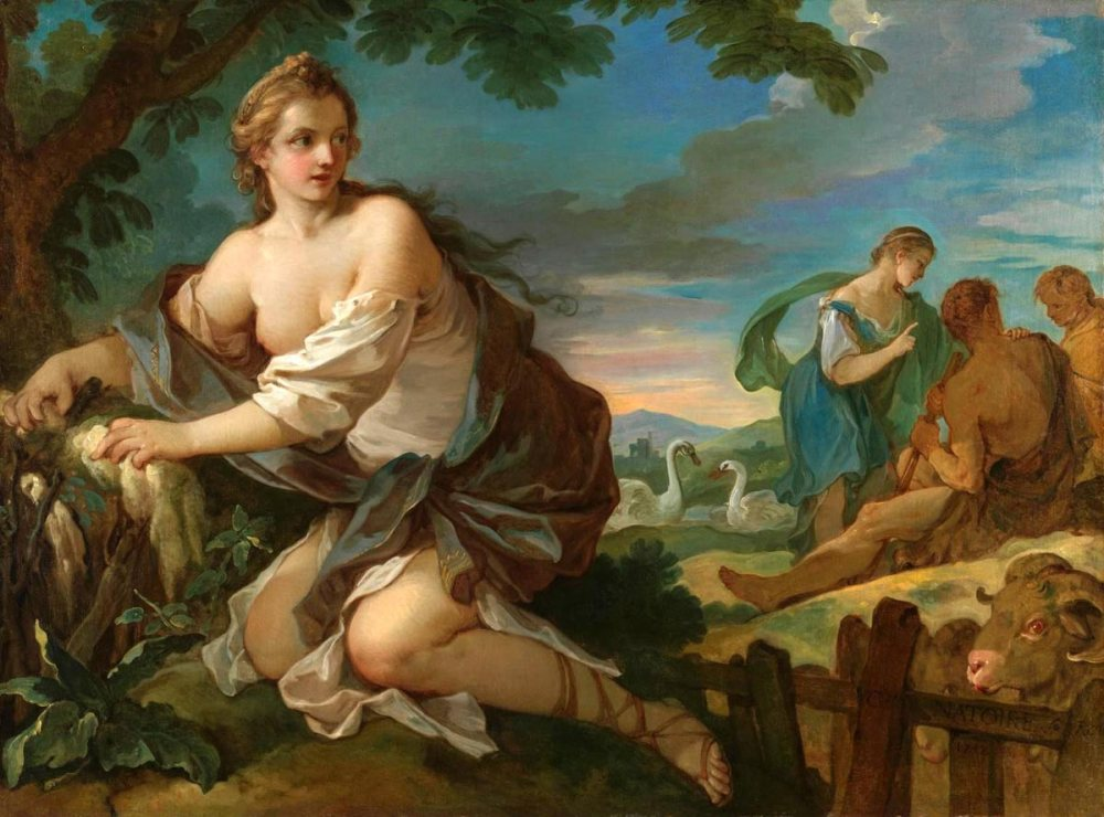 Psyche gathers fleece of rams of Sun by Charles Natoire 1752