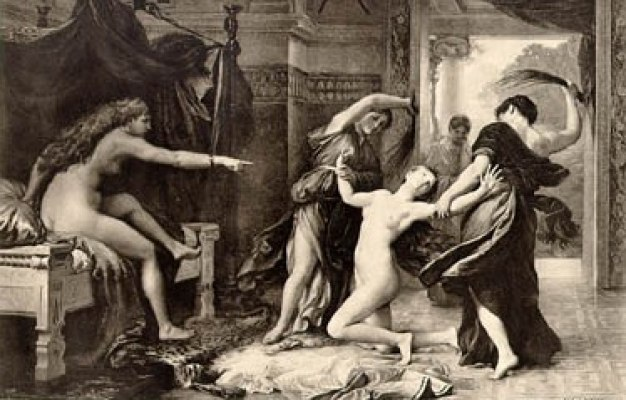 Psyche is whipped by Trouble and Sorrow