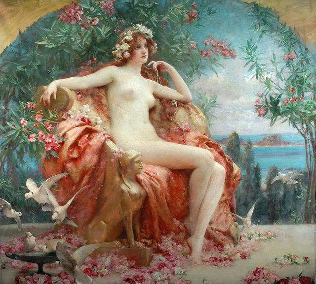 Venus on her throne by Henrietta Rae
