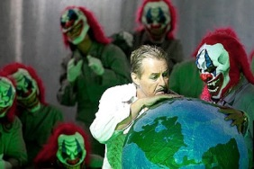 """Most don't realize clowns have been behind virtually every attempt of global domination as in this photo from the opera """"Mefistofele"""" where Satan's minions are funny people.....with fangs."""