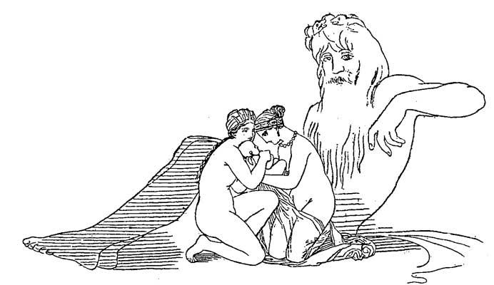 Hephaestus as baby found by Nereids Thetis and Eurynome