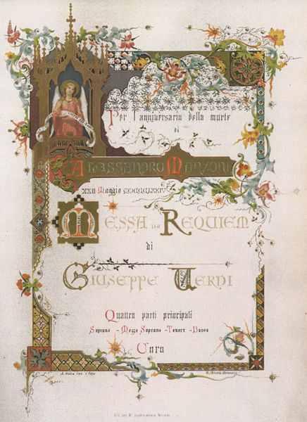Verdi Requiem First Edition Title Page 1874