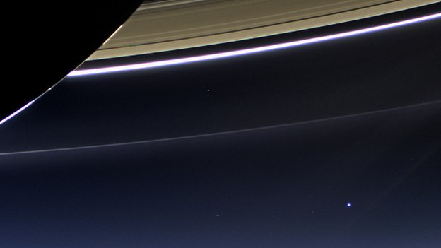 Earth seen from Saturn by Cassini