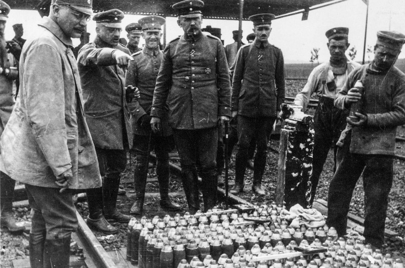 Fritz Haber in battlefield with cannisters