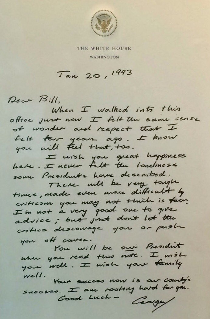 Presidential Transfer Letter from Bush Sr. to Bill Clinton