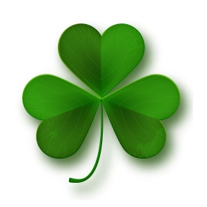 Saint Patricks Day Shamrock Leaf Symbol Isolated On White, Vecto