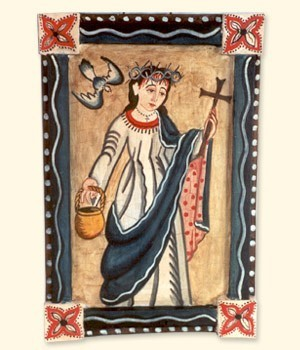 A medieval tile mosaic of St. Rose of Viterbo. The bird in the upper left is more than decorative, it is a reference to the nun's supposed gift to commune with birds. The masochistic tendencies of the saint are also shown since it is believed Rose would at times preach while wearing her own crown of thorns.