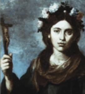 "An oil painting of Saint Rose of Viterbo created by a painter who styled himself after Caravaggio, the ""Caravaggisti"" painter, Bartolome Murillo in 1650."