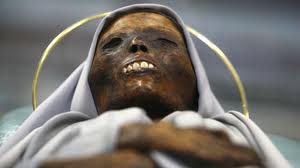 The mummified corpse of Saint Rose of Viterbo who died in the year 1252.
