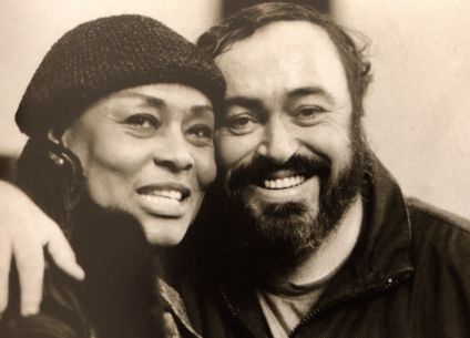Shirley Verrett with her singing colleague and good friend, tenor Luciano Pavarotti
