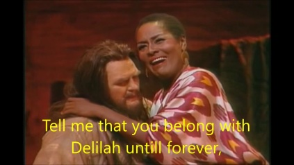 "Shirley Verrett stunning with cropped hair sings the role of THE Biblical hair cropper, Delila, in French Dalilah with her Sampson, heldentenor John Vickers in St. Seans' ""Samson et Daliliah"" at the San Francisco Opera, 1990"