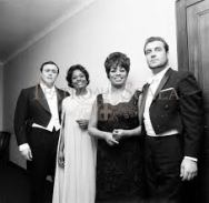 Shirley Verrett singing the Verdi Requiem in Verdi's hometown of Milan at La Scala with bass Nicolai Ghiarov, (far right), a very young beardless Luciano Pavarotti (far left) and fellow African American trailblazer, Leontyne Price (middle right).