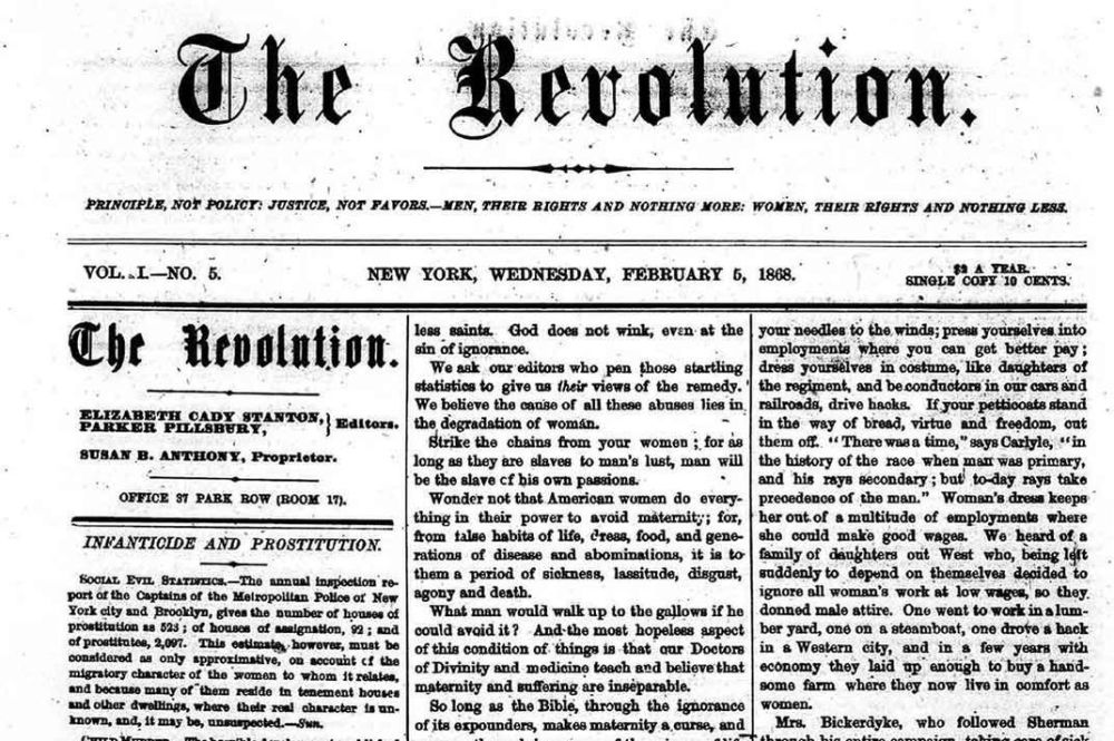 Susan B. Anthony Revolution newspaper 02051868